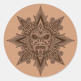Aztec Sun Mask Brown Classic Round Sticker