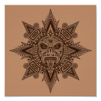 Aztec Sun Mask Brown Poster