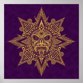Aztec Sun Mask Golden Purple Poster