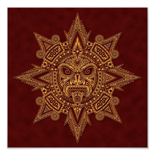 Aztec Sun Mask Golden Red Posters