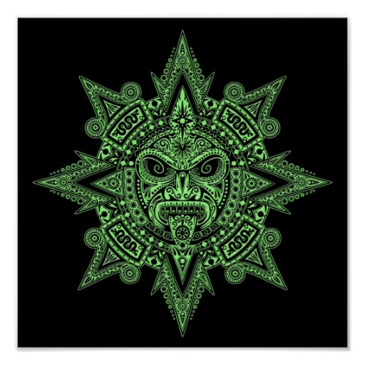 Aztec Sun Mask Green on Black Poster