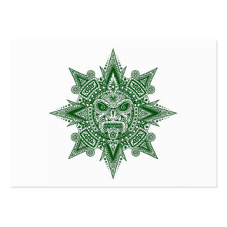 Aztec Sun Mask Green on White Business Cards