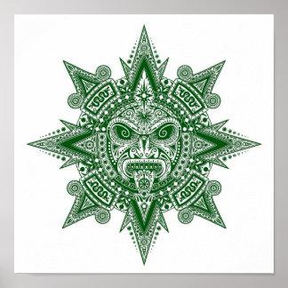 Aztec Sun Mask Green on White Print