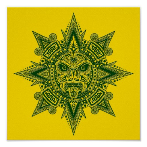 Aztec Sun Mask Green on Yellow Poster