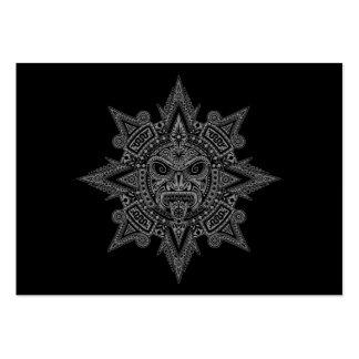 Aztec Sun Mask Grey on Black Business Card Templates