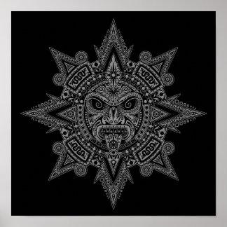 Aztec Sun Mask Grey on Black Print