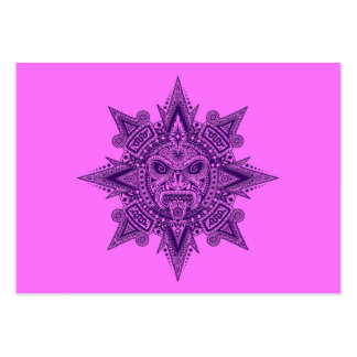 Aztec Sun Mask Purple and Pink Business Cards