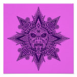 Aztec Sun Mask Purple and Pink Poster