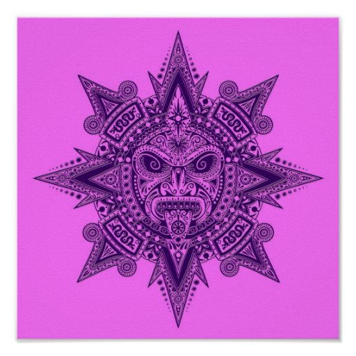 Aztec Sun Mask Purple and Pink Print
