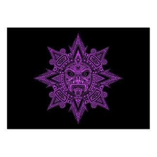Aztec Sun Mask Purple on Black Business Cards