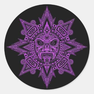 Aztec Sun Mask Purple on Black Classic Round Sticker
