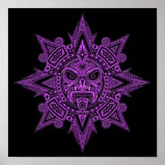 Aztec Sun Mask Purple on Black Print
