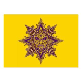 Aztec Sun Mask Purple on Yellow Business Card