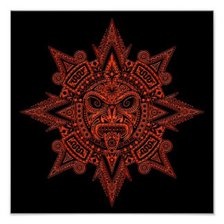 Aztec Sun Mask Red on Black Posters