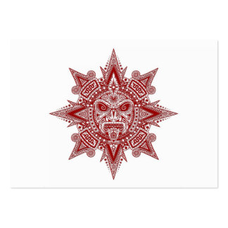 Aztec Sun Mask Red on White Business Cards