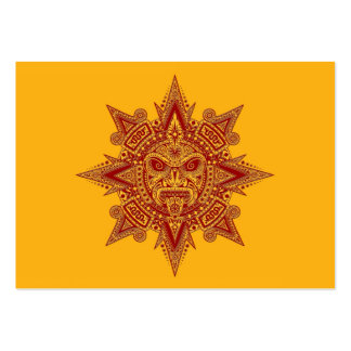Aztec Sun Mask Red on Yellow Business Card Templates