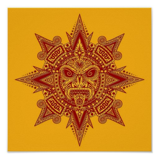 Aztec Sun Mask Red on Yellow Posters