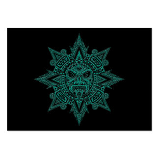 Aztec Sun Mask Teal on Black Business Card Template