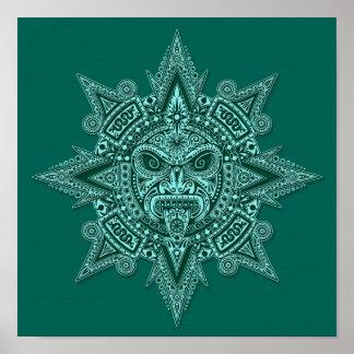 Aztec Sun Mask Teal Poster