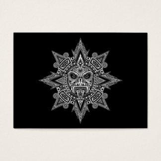 Aztec Sun Mask White on Black Business Card