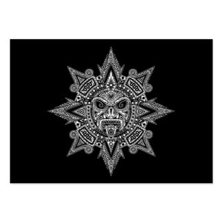 Aztec Sun Mask White on Black Business Card Template