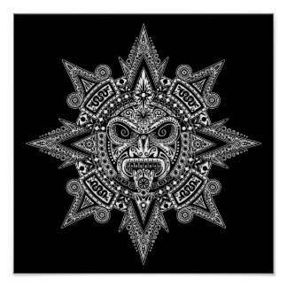 Aztec Sun Mask White on Black Poster