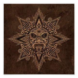 Aztec Sun Mask with Stone Effect Poster