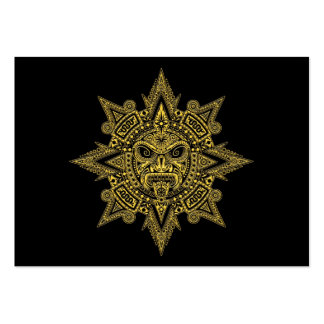 Aztec Sun Mask Yellow on Black Business Card Template