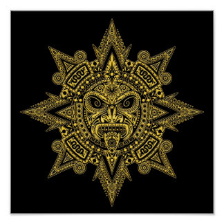 Aztec Sun Mask Yellow on Black Posters