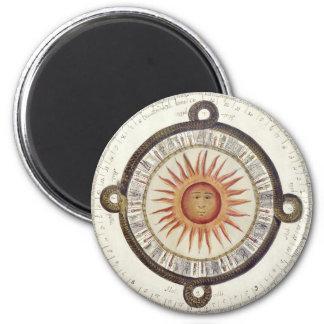 Aztec Sun Stone 6 Cm Round Magnet
