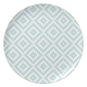 Aztec Symbol Block Ptn Duck Egg Blue \u0026 White I Plate  sc 1 st  Zazzle & Duck Egg Blue Plates   Zazzle.co.uk