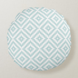 Aztec Symbol Block Ptn Duck Egg Blue & White I Round Cushion