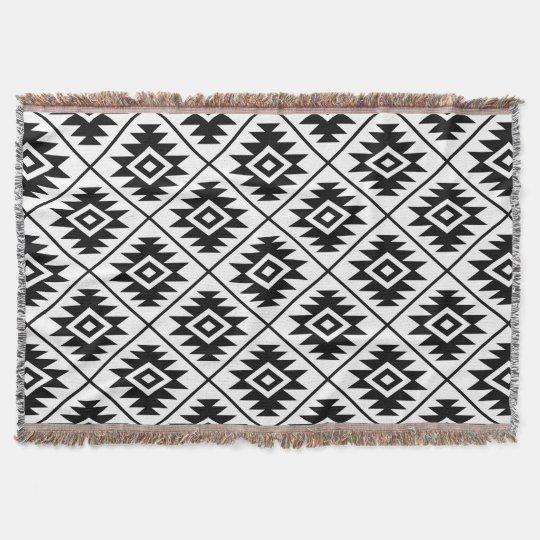 Aztec Symbol Stylised Pattern Black on White Throw