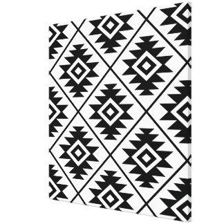 Aztec Symbol Stylized Big Ptn Black on White Canvas Print