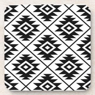 Aztec Symbol Stylized Big Ptn Black on White Coaster