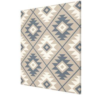 Aztec Symbol Stylized Big Ptn Blue Cream Sand Canvas Print