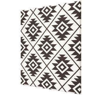 Aztec Symbol Stylized Big Ptn Brown on Cream Canvas Print
