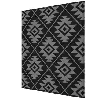 Aztec Symbol Stylized Big Ptn Gray on Black Canvas Print