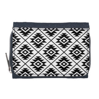 Aztec Symbol Stylized Pattern Black on White Wallet