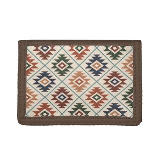 Aztec Symbol Stylized Pattern Color Mix Trifold Wallet