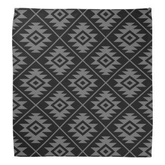 Aztec Symbol Stylized Pattern Gray on Black Bandana