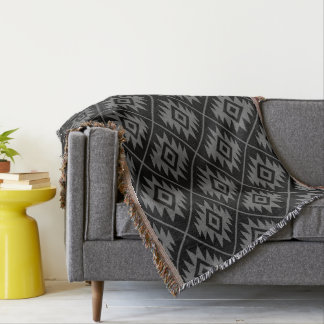 Aztec Symbol Stylized Pattern Gray on Black Throw Blanket