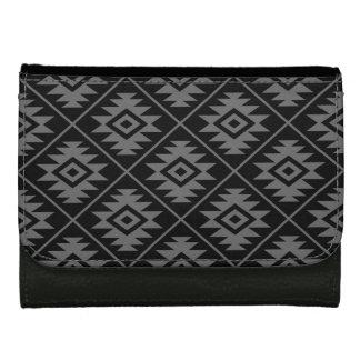 Aztec Symbol Stylized Pattern Gray on Black Wallet