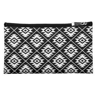Aztec Symbol Stylized Pattern White on Black Makeup Bag