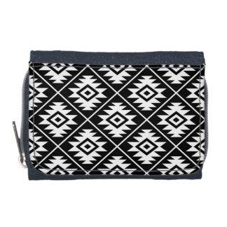 Aztec Symbol Stylized Pattern White on Black Wallet