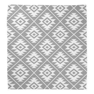 Aztec Symbol Stylized Pattern White on Gray Bandana