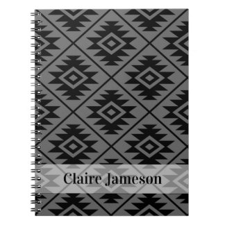 Aztec Symbol Stylized Ptn Blk on Gray (Name Band) Notebook