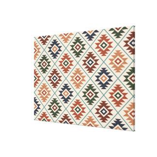 Aztec Symbol Stylized Rpt Pattern Color Mix Canvas Print