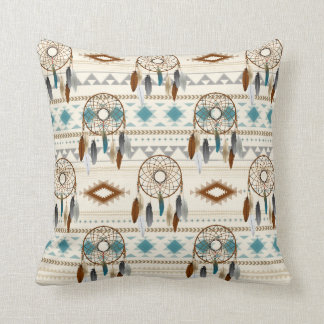 Aztec Tribal Dream Catchers Neutral Browns & Teal Cushion