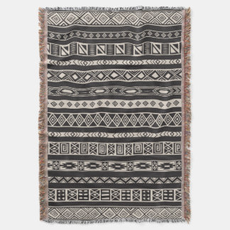 Aztec Tribal Ethnic Geometric Pattern Black Beige Throw Blanket